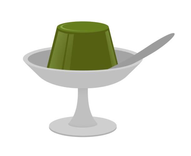抹茶ゼリー - プリン スプーン点のイラスト素材/クリップアート素材/マンガ素材/アイコン素材