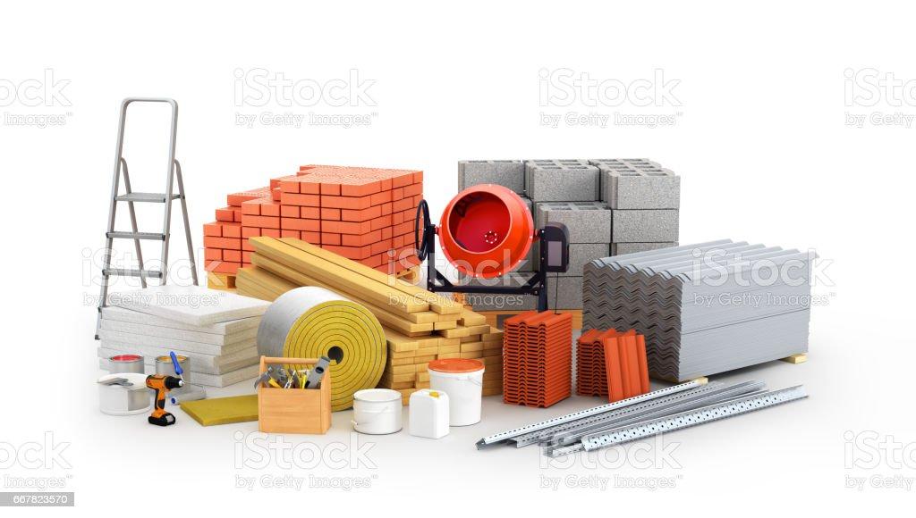 materials for construction. 3D illustration vector art illustration