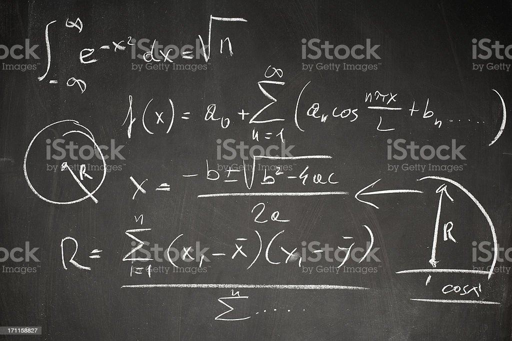 Math formula on blackboard vector art illustration