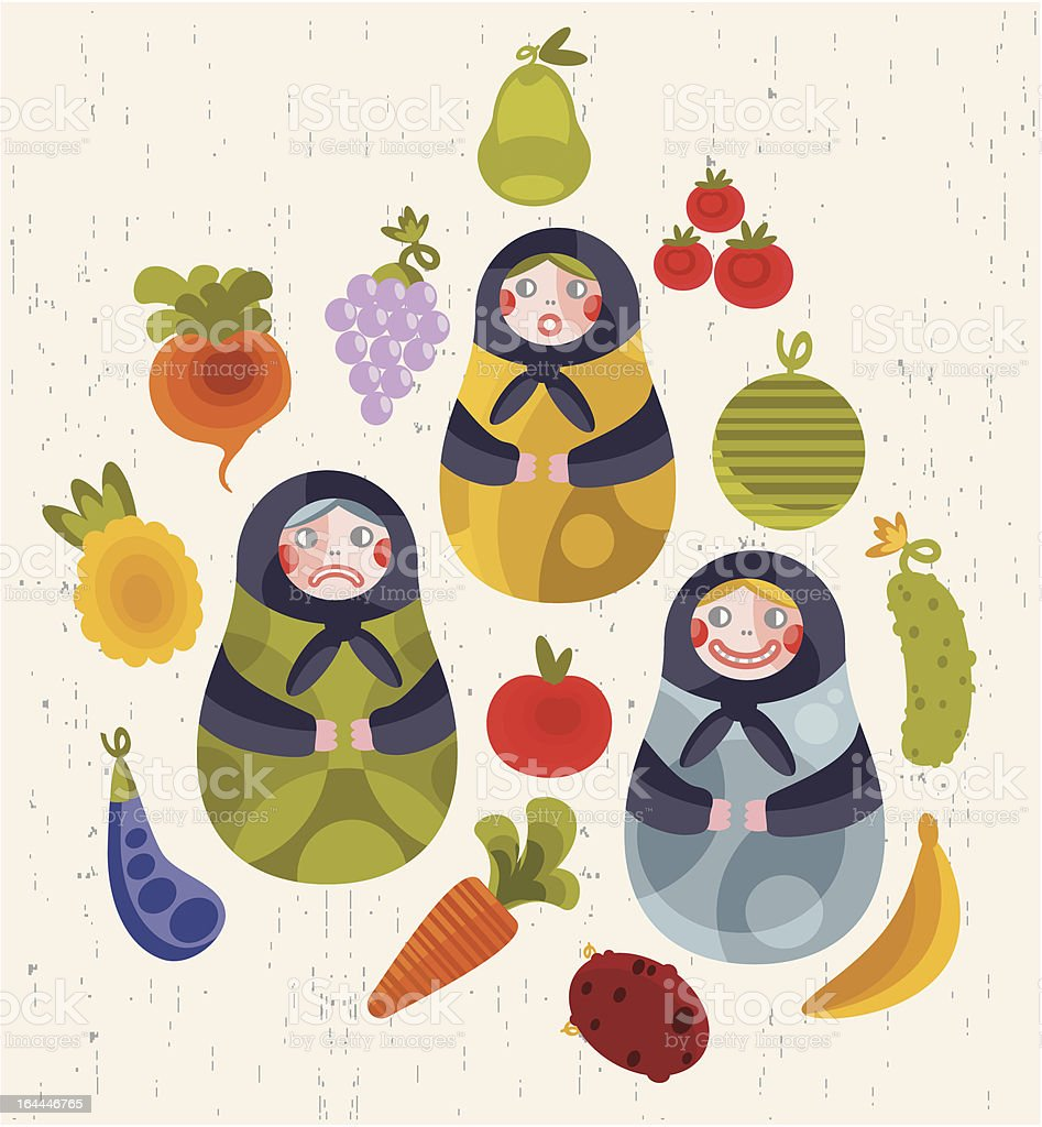 Matreshka doll with some fruits and vegetables. royalty-free matreshka doll with some fruits and vegetables stock vector art & more images of apple - fruit