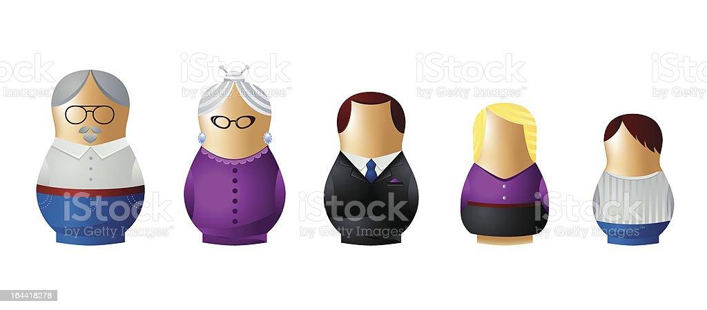 Matryoshka family icon set royalty-free stock vector art