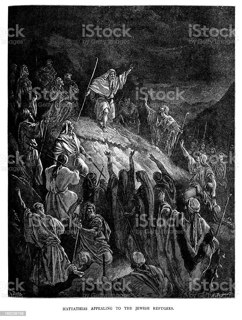 Mattathias appealing to the Jewish Refugees vector art illustration