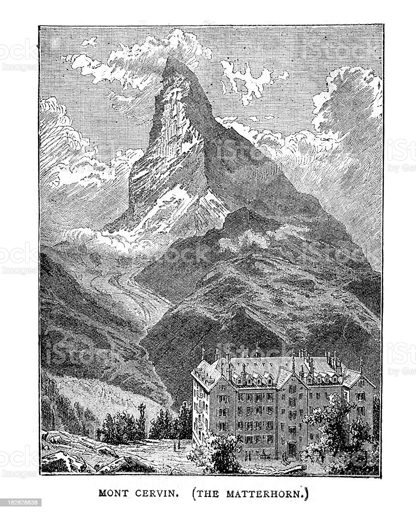 Matterhorn or Mont Cervin royalty-free stock vector art