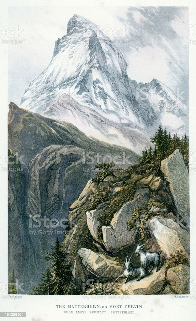 Matterhorn or Mont Cervin royalty-free stock vector art