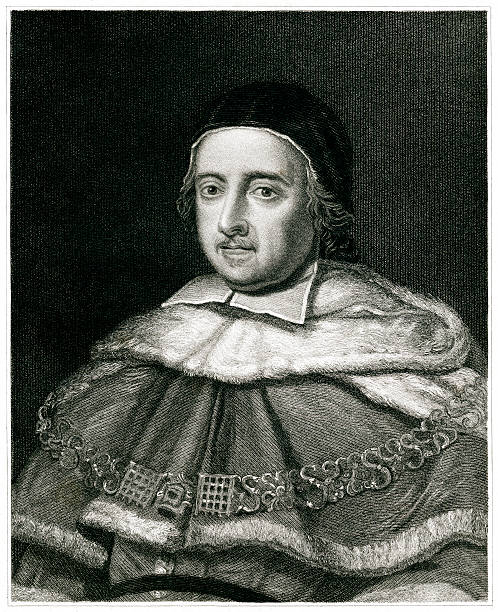 Matthew Hale Engraving From 1834 Featuring The English Jurist, Matthew Hale.  Hale Lived From 1609 Until 1676. chief justice stock illustrations