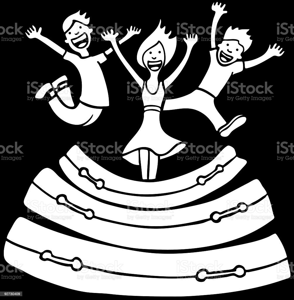 Mattress Jumping Line Art royalty-free stock vector art