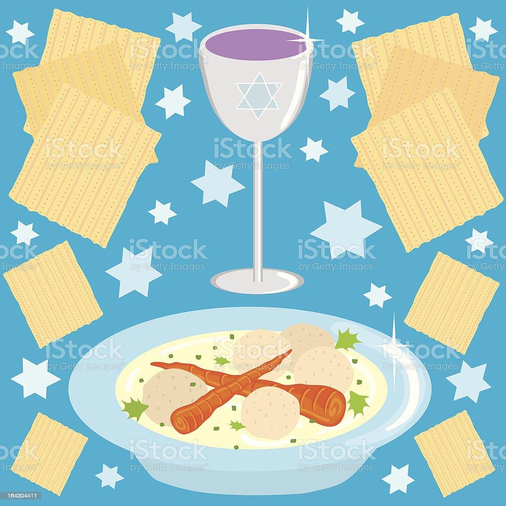 Matzo Ball Soup and kosher wine vector art illustration