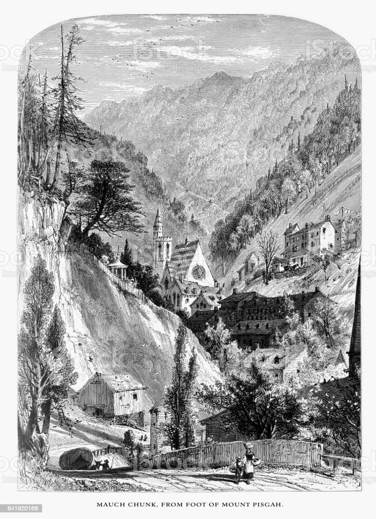 """Mauch Cunk """"Bear Mountain,"""" from the foot of Mount Pisgah, Pennsylvania, United States, American Victorian Engraving, 1872 vector art illustration"""