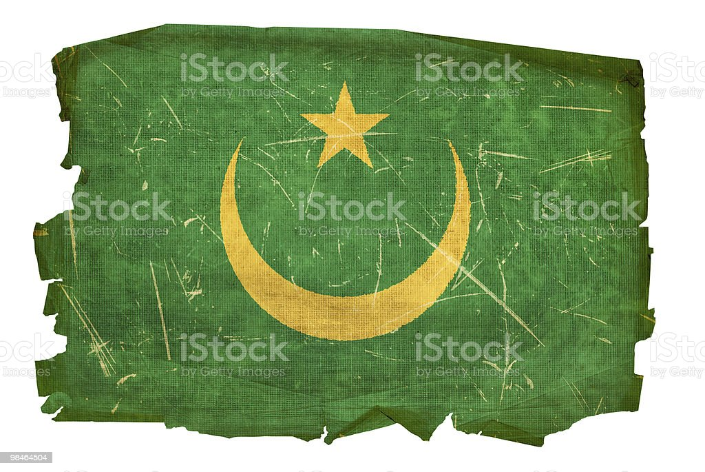 Mauritania Flag old, isolated on white background. royalty-free mauritania flag old isolated on white background stock vector art & more images of aging process