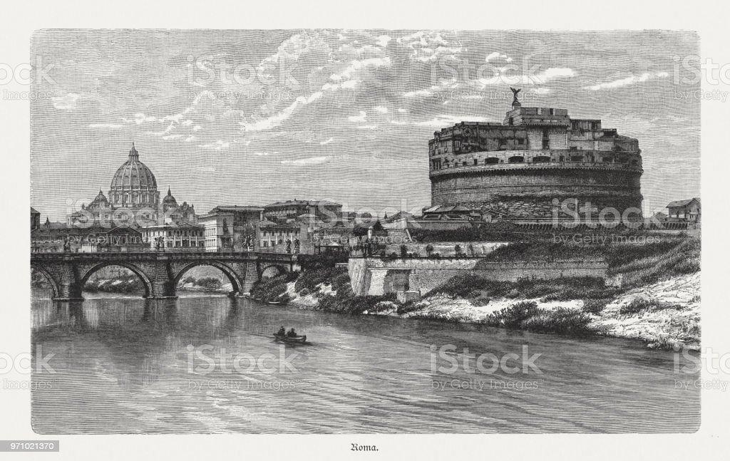 Mausoléu de Adriano, em Roma, Itália, gravura em madeira, publicado 1897 - ilustração de arte em vetor
