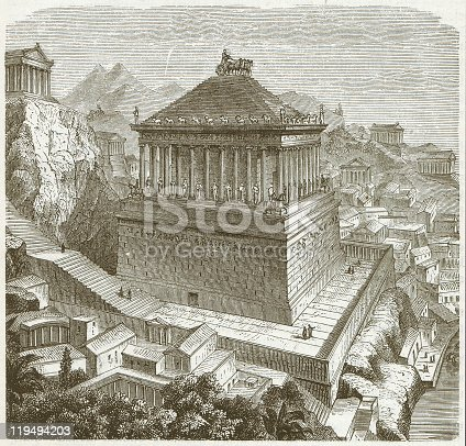 The Mausoleum at Halicarnassus or Tomb of Mausolus was a tomb built between 353 and 350 BC at Halicarnassus (present Bodrum, Turkey) for Mausolus, a satrap in the Persian Empire and Artemisia II of Caria, his wife and sister. It is considered one of the Seven Wonders of the Ancient World. Wood engraving, published in 1882.