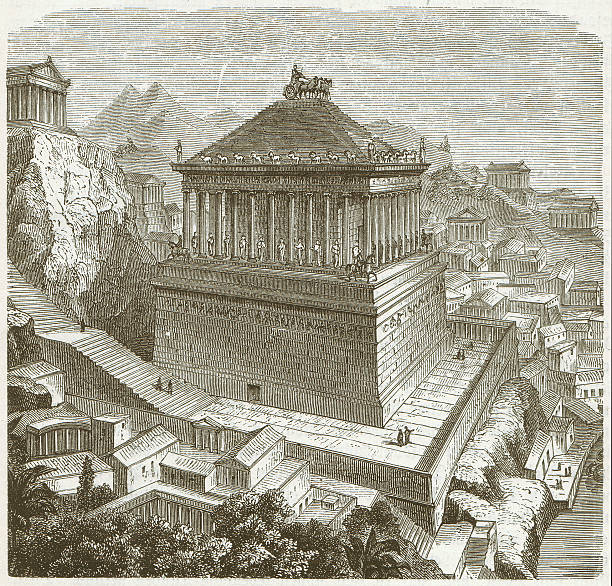 stockillustraties, clipart, cartoons en iconen met mausoleum of halicarnassus - mausoleum