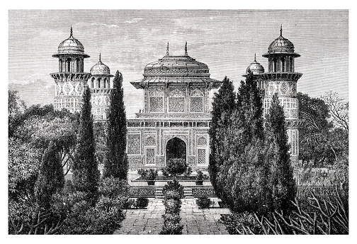 India The Mausoleum of Prince Itmad-ood-Dowlah Etmaddowlah in the Indian city of Agra. Original edition from my own archive Source : Tour du monde 1872 Drawing : H. Catenacci after M.L. Rousselet - F. Meaulle