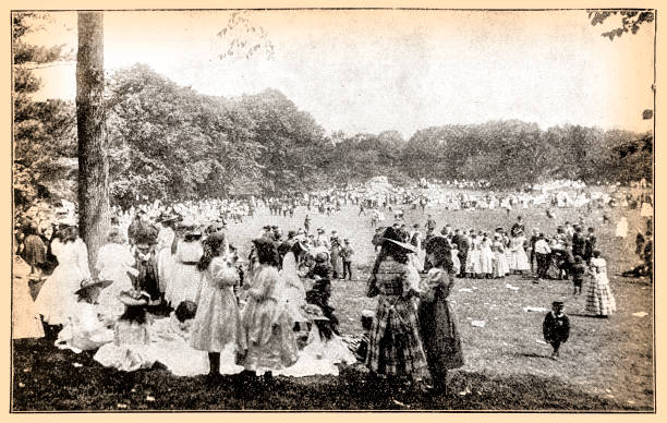 may day in central park, new york 1897 - may day stock illustrations, clip art, cartoons, & icons