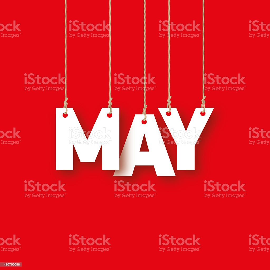 May word hanging on the ropes vector art illustration
