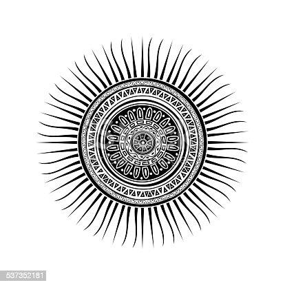 Mayan Sun Symbol Stock Vector Art More Images Of 2015 537352181