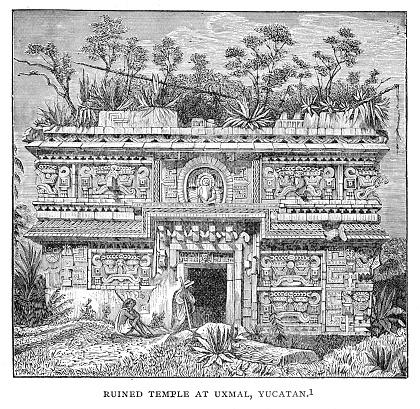 Mayan temple ruins engraving 1895