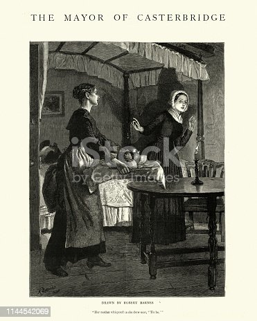 Vintage engraving of a scene from The Mayor of Casterbridge by Thomas Hardy. Her mother whispered as she drew near, Tis He.  Illustrated by Robert Barnes