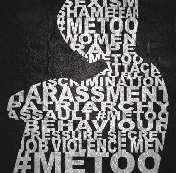 Me too social movement concept Me too hashtag. Social movement concerning sexual assault and harassment. Woman silhouette designed as words collage prettige verrassingen stock illustrations