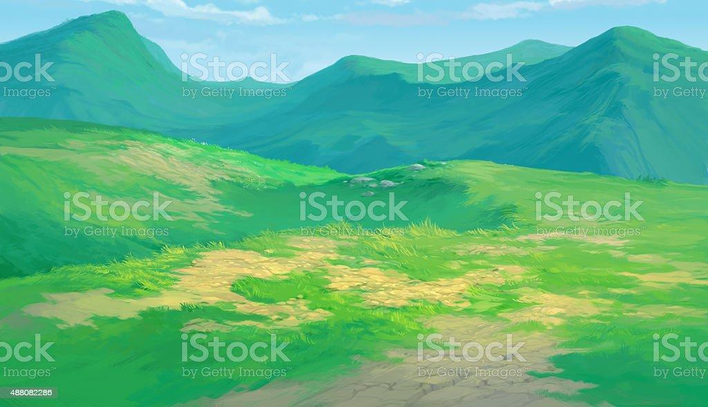 meadow background vector art illustration