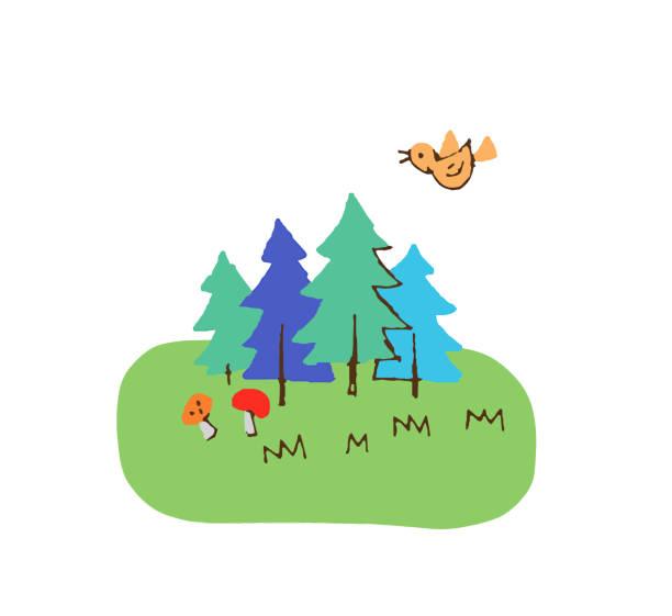 illustrazioni stock, clip art, cartoni animati e icone di tendenza di meadow landscape with some trees - forest bathing