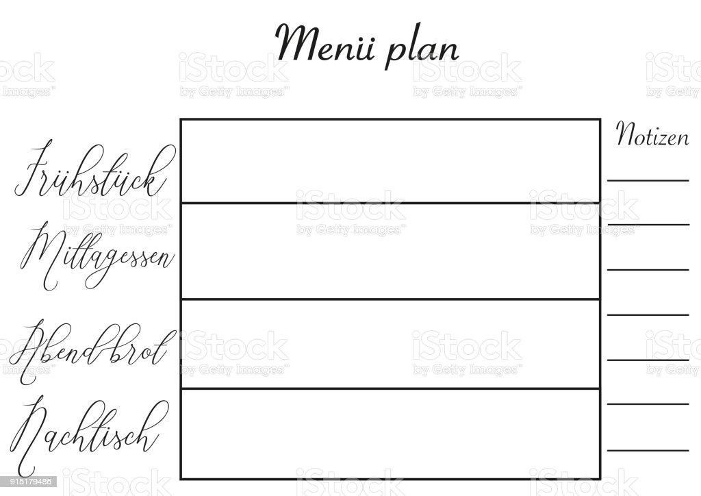 meal planner in german a4 template with hand lettering the design in