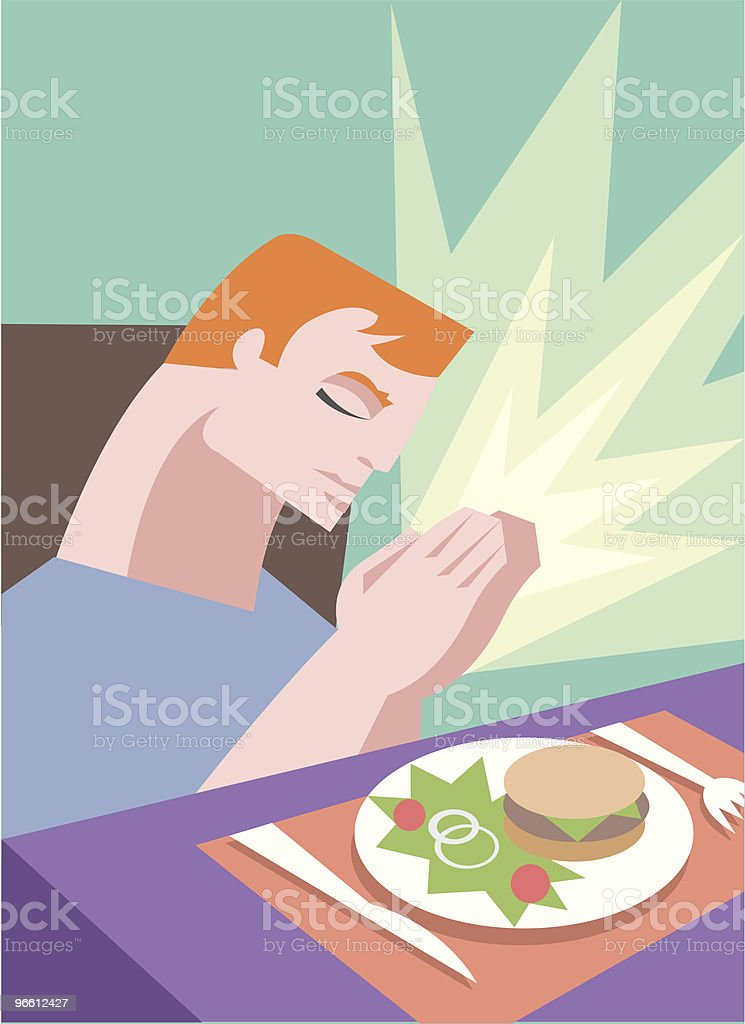 Mealtime prayer - Royalty-free Adult stock vector