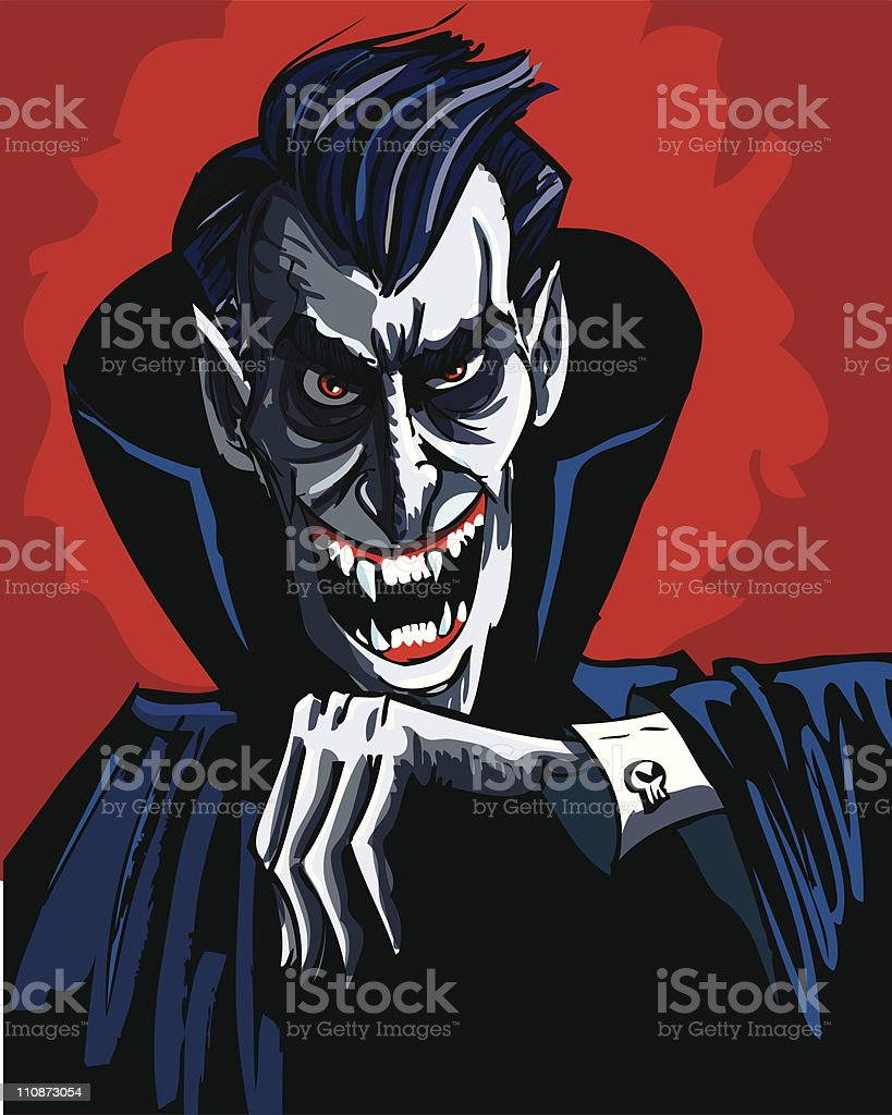 Mean vampire with a evil smile vector art illustration