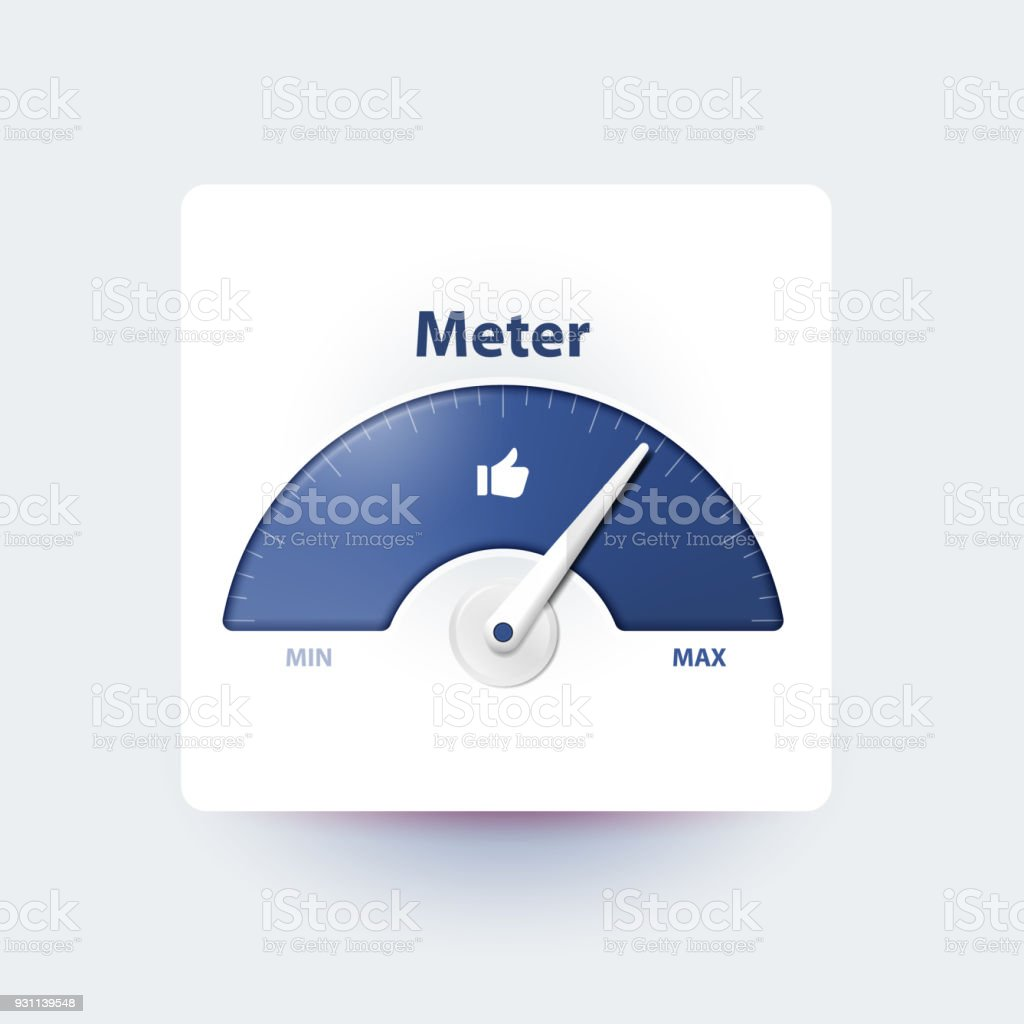 Measurement of activity in social media. Analysis and prediction of content popularity Measuring device with an arrow. Effective user involvement in social network. Isolated meter. Thumbs up. Arrow Symbol stock illustration
