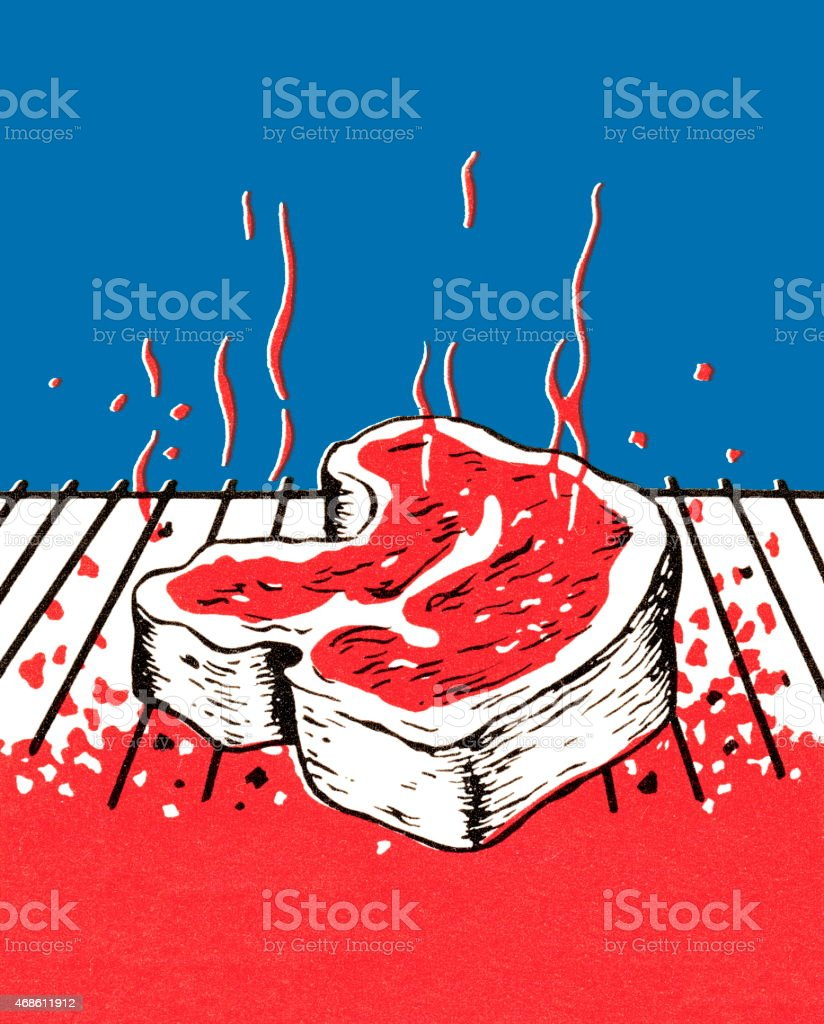 Meat on the grill vector art illustration