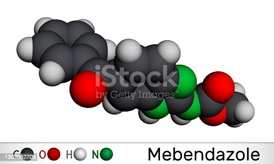 Mebendazole, MBZ molecule. It is synthetic benzimidazole derivate and anthelmintic drug. Molecular model. 3D rendering. 3D illustration