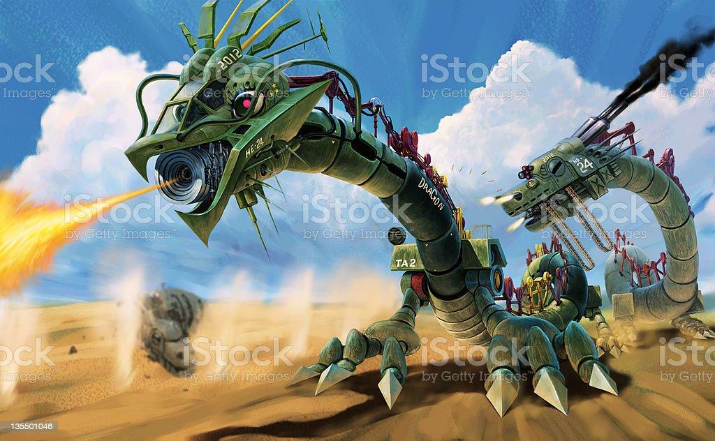 Mechanical Dragon Is Fighting In Desert Stock Illustration