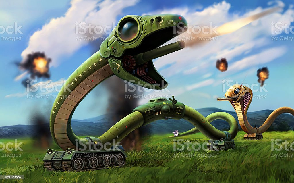 Mechanical snake   Battle of a prairie royalty-free mechanical snake battle of a prairie stock vector art & more images of aggression