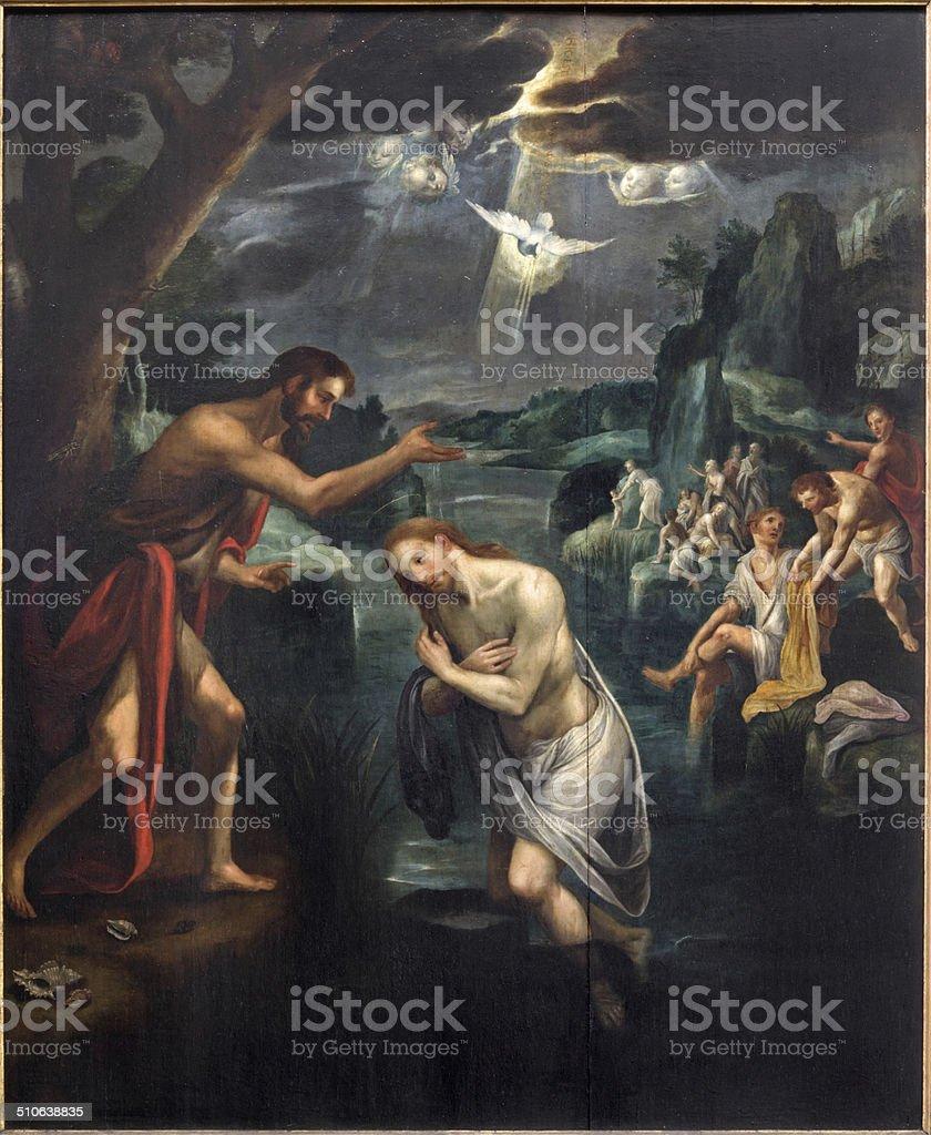 Mechelen-Baptistm de cristo pintura - ilustración de arte vectorial