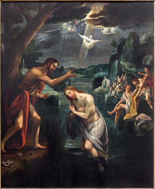 Mechelen-Baptistm de Jesus Pintura - ilustração de arte vetorial