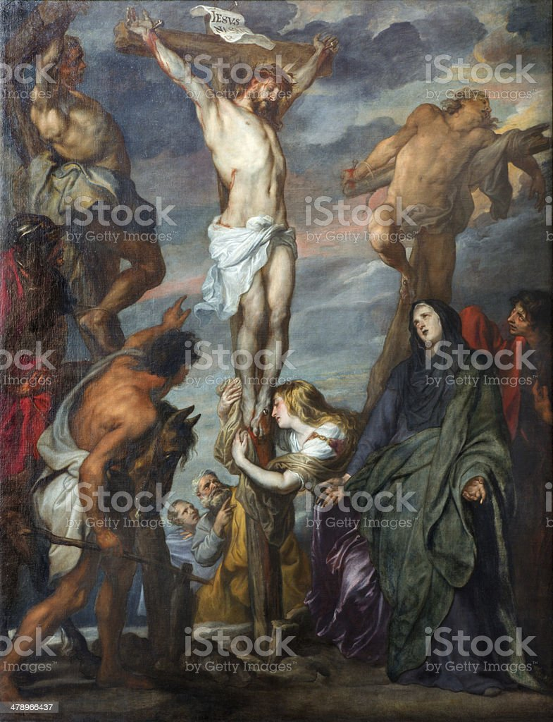 Mechelen - Paint of Crucifixion by Van Dyck in cathedral vector art illustration