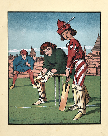 Medeival men playing a game of cricket, Batsman and wicketkeeper