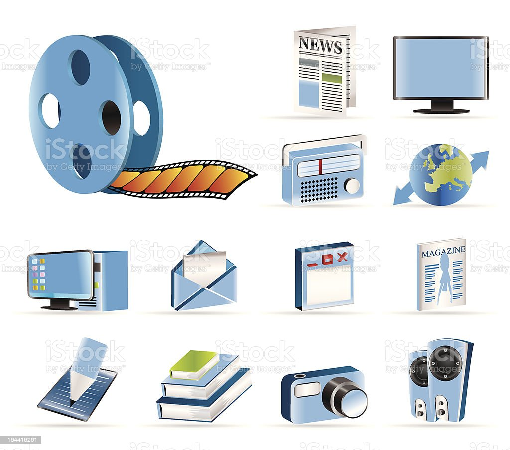Media and information icons royalty-free stock vector art