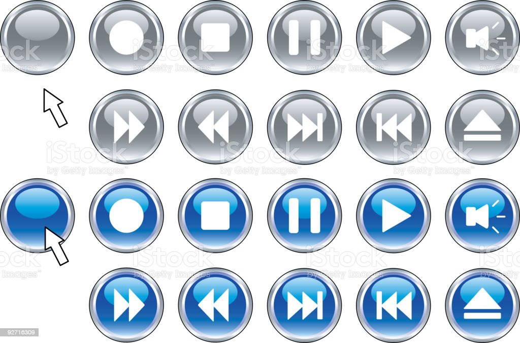 Media buttons. royalty-free media buttons stock vector art & more images of arrow symbol