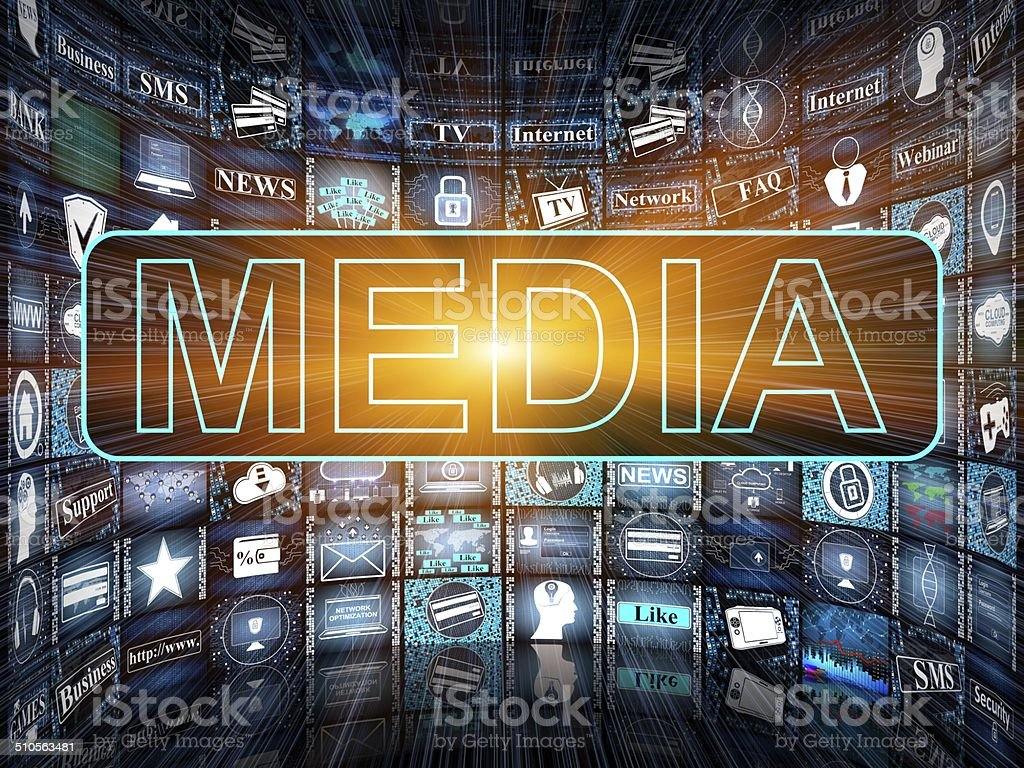 Media concept with TV screens vector art illustration