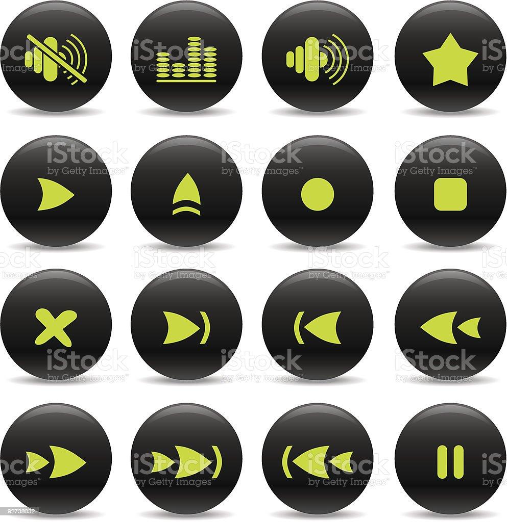 Media-player-icons Lizenzfreies mediaplayericons stock vektor art und mehr bilder von biegung
