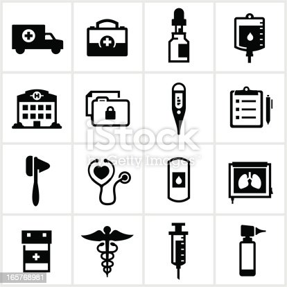 Medical related icons. All white strokes/shapes are cut from the icons and merged.