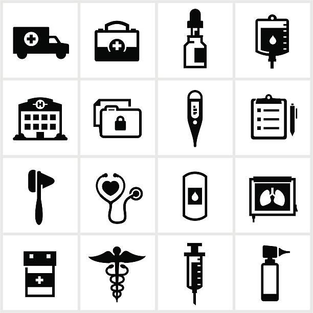 illustrazioni stock, clip art, cartoni animati e icone di tendenza di icone di medicina e sanità - scheda clinica
