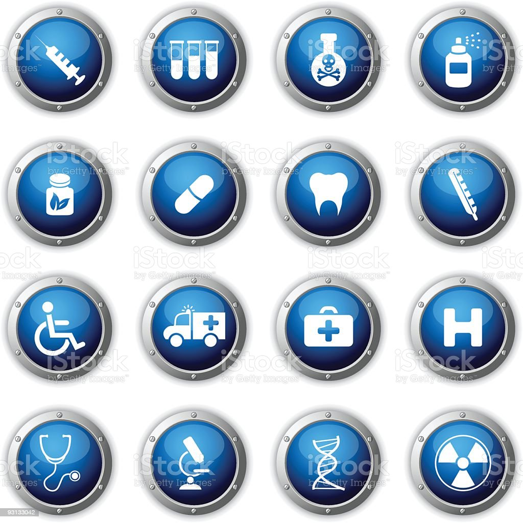 Medical and Hospital buttons. royalty-free stock vector art