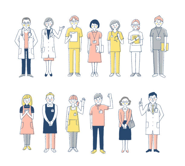 Medical and welfare people More than one person biomedical illustration stock illustrations