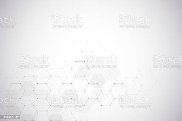 Wykształcenie Medyczne Lub Projektowanie Naukowe Struktura Molekularna I Związki Chemiczne Geometryczne I Wielokątne Abstrakcyjne Tło - Stockowe grafiki wektorowe i więcej obrazów Tło