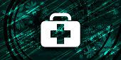 Medical bag icon floral emerald green banner background natural pattern fractal illustration design