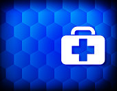 Medical bag icon hexagon creative abstract blue background seamless hexagonal pattern grid illustration design
