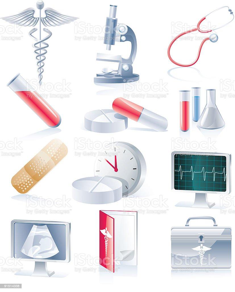 Medical equipment icon set vector art illustration