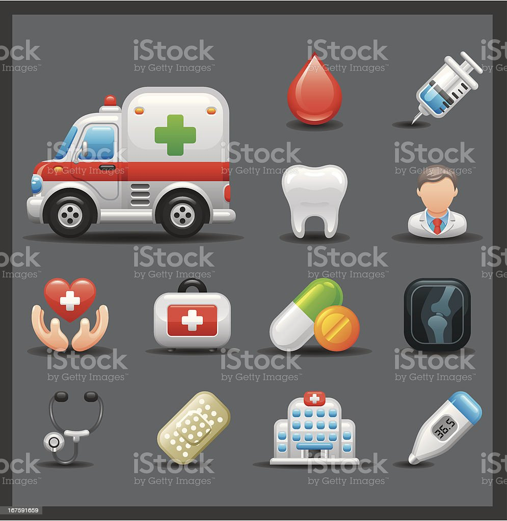 Medical Icon Set | Shiny Series / Dark royalty-free stock vector art